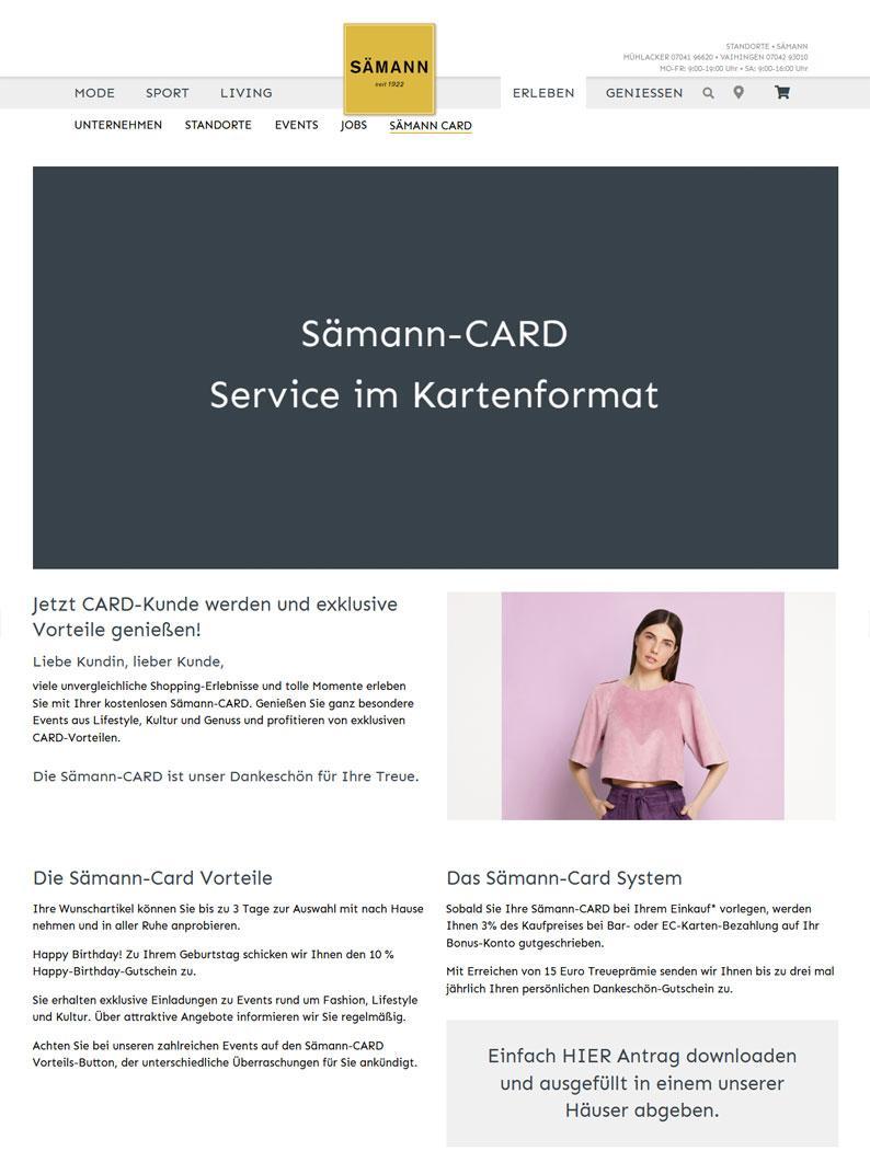 Die Kundenkarte vom Kaufhaus Sämann auf der Webseite
