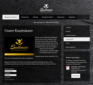 Die Kundenkarte von Sedlmeir Metzgerei & Feinkost auf der Webseite