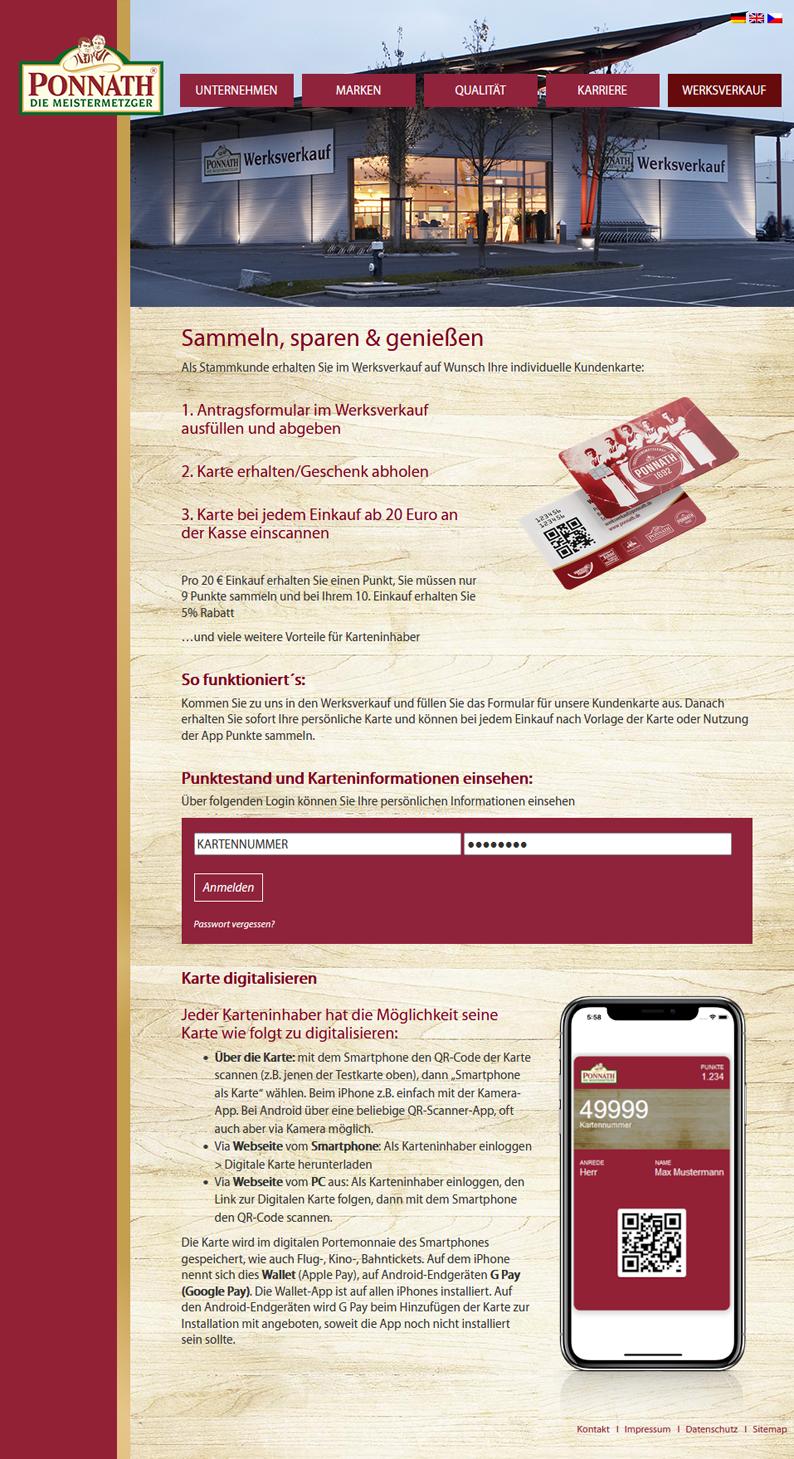 Die Kundenkarte von Ponnath Metzgerei auf der Webseite
