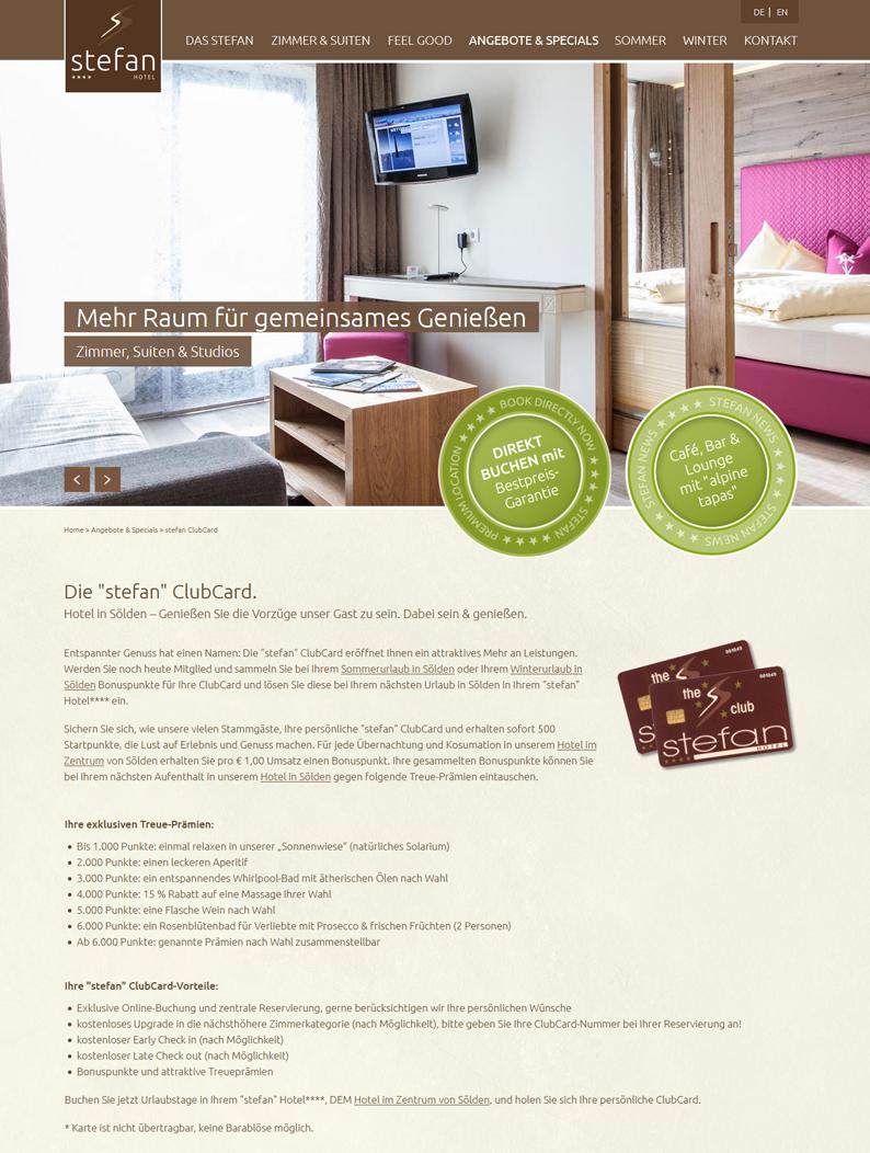 Die Kundenkarte vom Stefan Hotel auf der Webseite