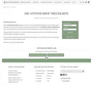 Die Kundenkarte vom Hotel Antoniushof auf der Webseite