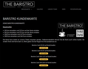 Die Kundenkarte der Café-Bar THE BARISTRO auf der Webseite