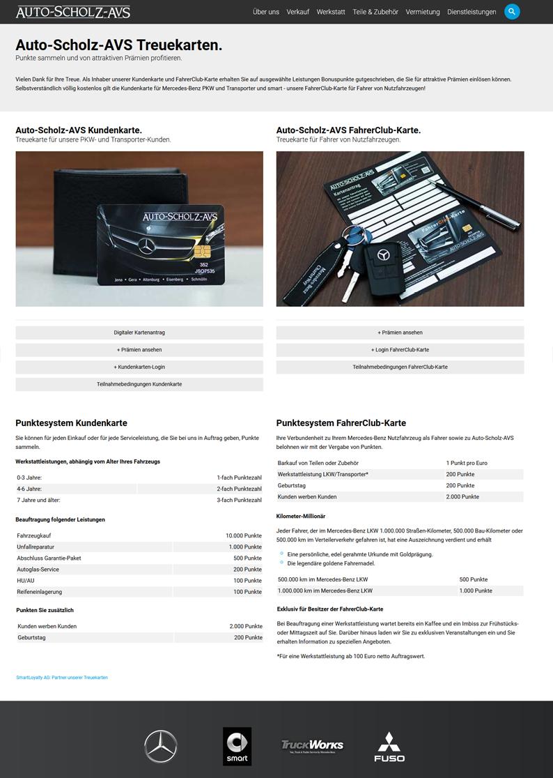 Die Kundenkarte Auto-Scholz auf der Website der Autohausgruppe